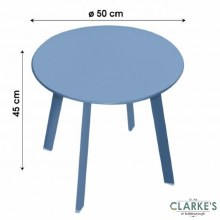 Small Round Garden Side Table Blue
