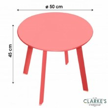 Small Round Garden Side Table Red