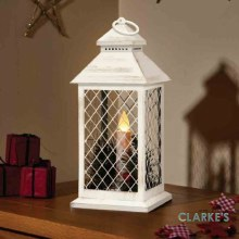Yule Christmas Battery Lantern Crem & Gold