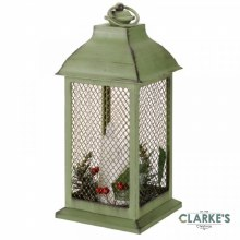 Yule Christmas Battery Lantern Green & Gold