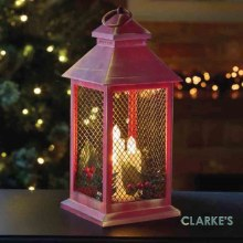 Yule Christmas Battery Lantern Red & Gold