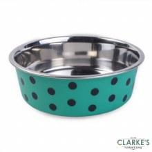 Stainless Steel Green Polka Bowl 17 cm