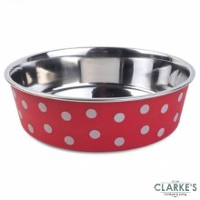 Stainless Steel Red Polka Bowl 21 cm