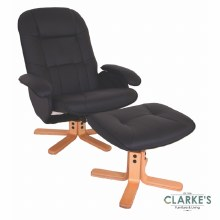 Abbey Recliner Chair & Stool Black