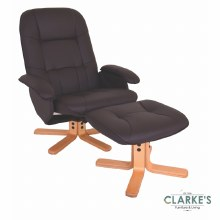 Abbey Recliner Chair & Stool Brown
