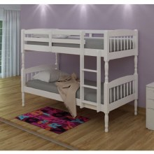 Alex Solid Wood Bunk Bed White with 2 Mattresses