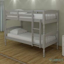 Alex Solid Wood Bunk Bed  Grey with 2 Mattresses