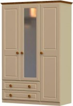 Annagh Ivory Triple Wardrobe with 2 Drawer and Mirror