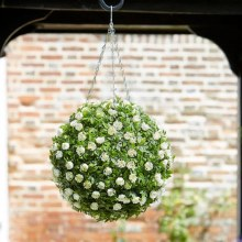 Artificial Topiary White Rose Ball 30 cm