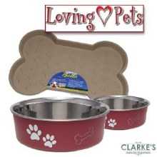 Loving Pets Bella Tray & 2 Medium Bowl Set Merlot