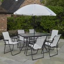 Deluxe White Rectangular Garden Furniture Set