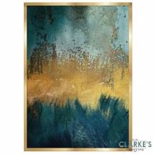 Gold & Cyan 2 - Framed Wall Art 54 x 74 cm
