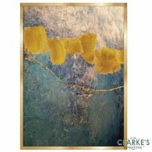 Gold & Cyan 3 - Framed Wall Art 54 x 74 cm
