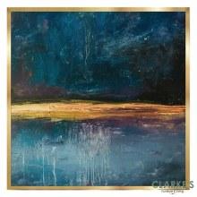 Gold & Cyan 1 - Framed Wall Art 74 x 74 cm
