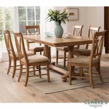 Carmen Oak dining set. Dining table and 6 chairs