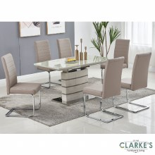 Chantelle Cappuchino extending dining table set. Table and 6 chairs