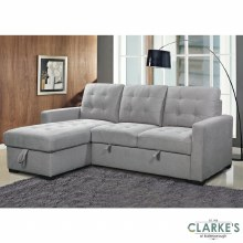 Charm of Grey Left Hand Facing Corner Sofa Bed with Ottoman. Available in the Shop!