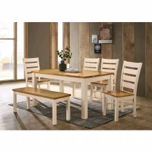 Chelsea Cream/Oak Dining Set. Table, 4 Chairs & Bench