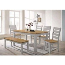 Chelsea Grey/Oak Dining Set. Table, 4 Chairs and Bench