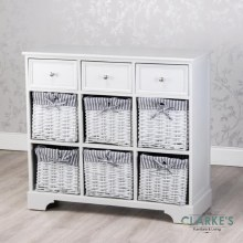Chester 3 Drawer 6 Basket Storage Cabinet Grey