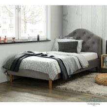 Chloe grey velvet single bed frame