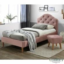 Chloe pink velvet single bed frame