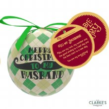 Christmas Gifting Bauble with Sentiment Card - Merry Christmas To My Husband