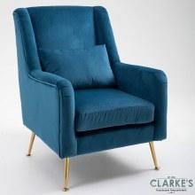 Cindy Velvet Accent Chair Blue