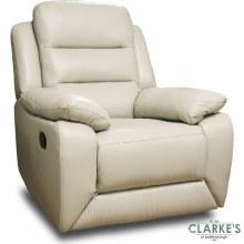 Claudia Half Leather 1 Seater Recliner Cream