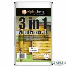 Cromar 3 in 1 Wood Preserver Dark Brown 5 Litre