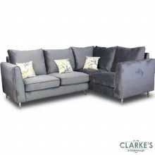 Daisy Right Hand Facing Plush Velvet Corner Sofa Grey