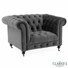 Darby Velvet 1 Seater Grey