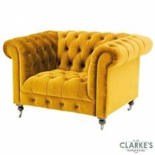 Darby Velvet 1 Seater Mustard