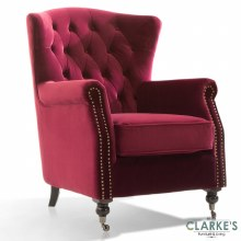 Darby Velvet Wingback Chair Berry