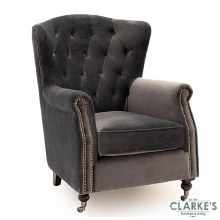 Darby Velvet Wingback Chair Grey