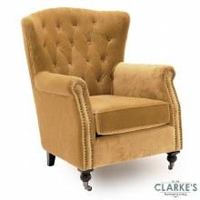 Darby Velvet Wingback Chair Mustard
