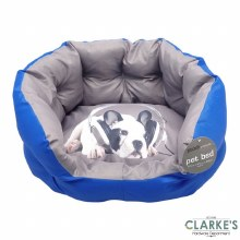 Pet Bed with Printed Cushion Blue