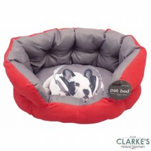 Pet Bed with Printed Cushion Red