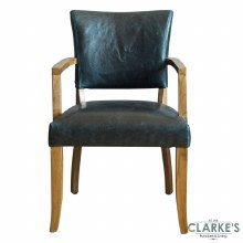Duke Leather Arm Chair Ink Blue