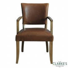 Duke Leather Arm Chair Tan Brown