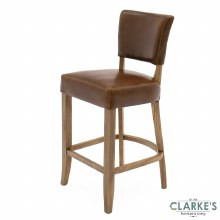 Duke leather brown bar stool