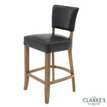 Duke leather blue ink bar stool