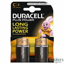 Duracell Plus Power C Batteries 2 Pack