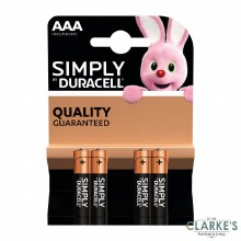 Duracell Simply AAA Batteries Pack of 4