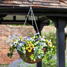 Artificial Topiary Pansies Hanging Basket 30cm