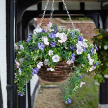 Artificial Topiary Petunias Hanging Basket 30cm