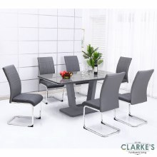 Edel dining table set. Modern table and 6 chairs