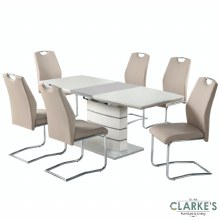Elena Champagne Extending Table and 6 Chairs