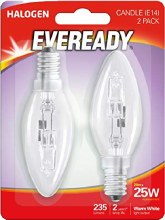 Eveready 20W E14 Halogen Candle Bulb 2 Pack