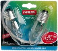 Eveready 28W E27 Candle Halogen Bulbs 2 Pack